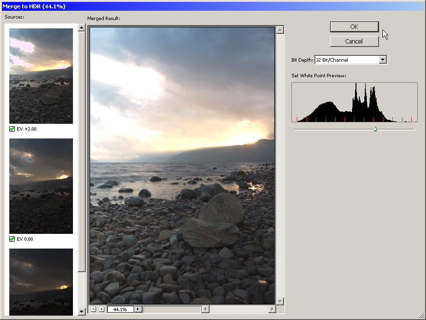 Photoshop | Merge To HDR Result Window