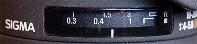 Sigma 10-20mm f/4-5.6 EX DC HSM Focus Scale